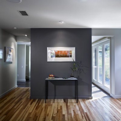 Example of a small trendy medium tone wood floor living room design in Austin with gray walls