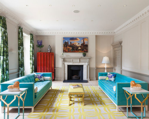 large contemporary formal living room idea in london with beige walls light hardwood floors and - Colorful Living Room