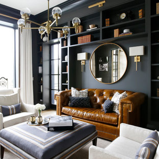 Transitional Formal And Enclosed Light Wood Floor Living Room Photo In  Nashville With Black Walls