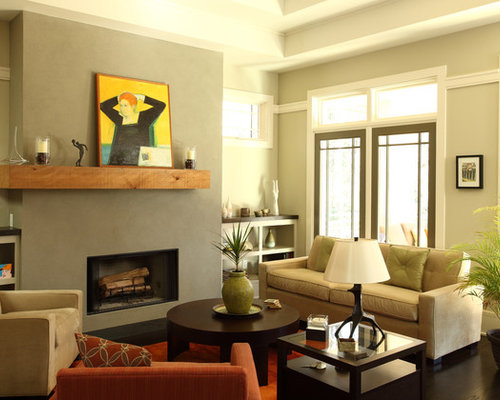 stucco fireplaces. Example of a classic dark wood floor living room design in Atlanta with  beige walls Stucco Fireplace Houzz
