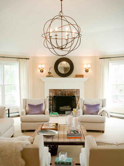 Transitional Living Room Photo In Boston With A Brick Fireplace