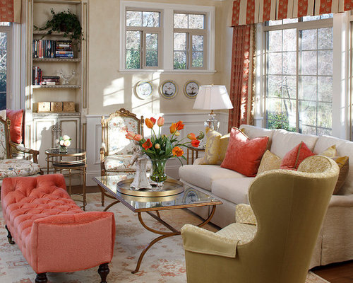 Coral color ideas pictures remodel and decor for Coral living room ideas