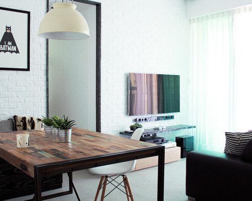 Billeder og indretningsidéer til pale colored wood moderne stue