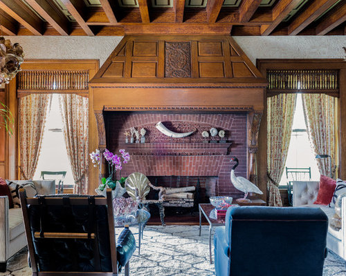 Example Of An Eclectic Formal Living Room Design In Boston With A Standard  Fireplace And A