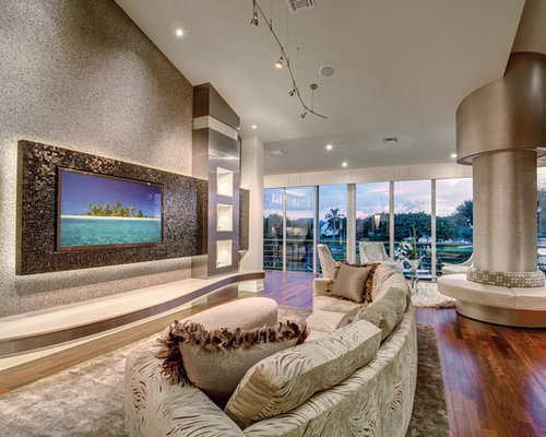 Huge Minimalist Living Room Photo In Miami With A Wall Mounted Tv