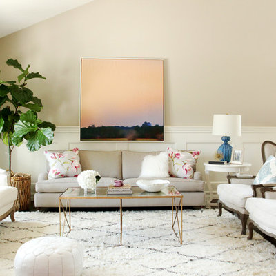 Transitional formal and open concept living room photo in Orange County with beige walls