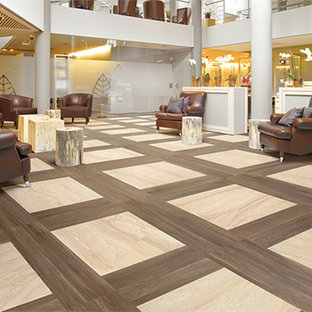 Example of a huge classic formal and enclosed porcelain floor living room design in Miami