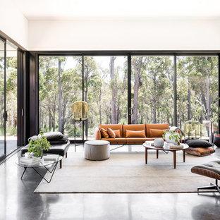 Immagine di un soggiorno minimalista aperto con sala formale, pareti bianche, pavimento in cemento e pavimento nero