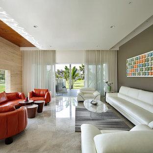 Modelo de salón contemporáneo, de tamaño medio, con suelo beige