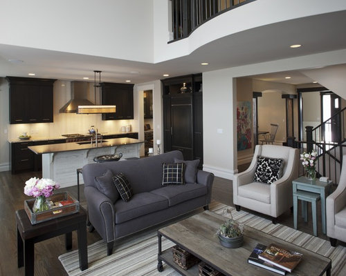 Dark gray sofa houzz for Gray living room black furniture