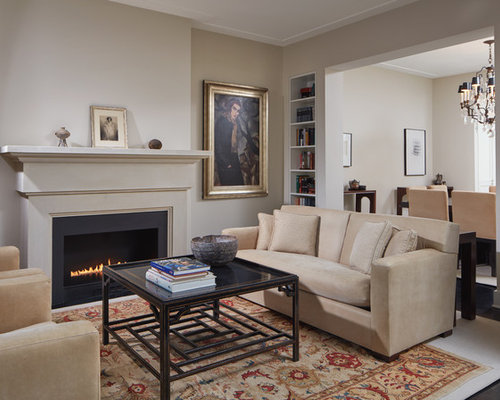 Mid Sized Transitional Dark Wood Floor Living Room Library Idea In DC Metro  With Beige