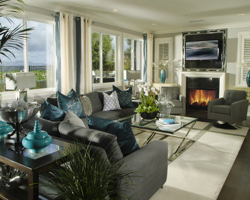 grey and turquoise | houzz