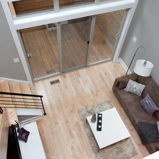 Example of a trendy living room design in Philadelphia