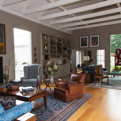 Inspiration for an eclectic living room remodel in New York with gray walls