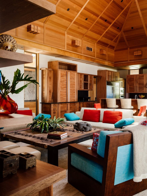 Tropical Open Concept Living Room Idea In Hawaii With White Walls, Dark  Wood Floors And Part 92