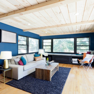 Living room - contemporary light wood floor living room idea in New York with blue walls