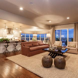 Example of a classic living room design in Denver with brown walls