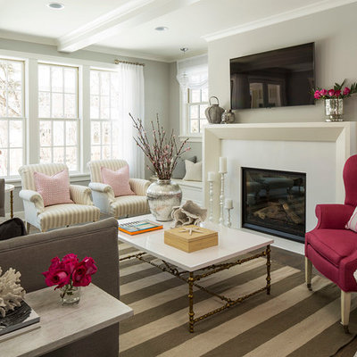 Inspiration for a coastal living room remodel in Minneapolis with gray walls
