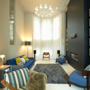 Repräsentatives Modernes Wohnzimmer mit Gaskamin in London
