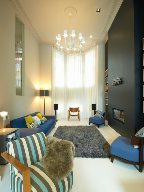 This Is An Example Of A Modern Formal Living Room In London With A Ribbon  Fireplace Part 98