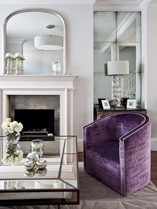 Mid Sized Elegant Open Concept Living Room Photo In London With White Walls,  A Part 85