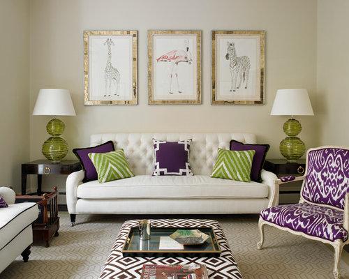 Elegant Dark Wood Floor Living Room Photo In London With Beige Walls