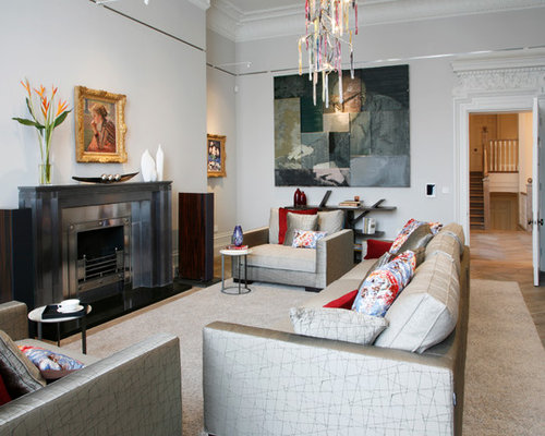 contemporary formal living room idea in london with gray walls a standard fireplace a