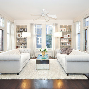 Example of a transitional dark wood floor living room design in Minneapolis with white walls