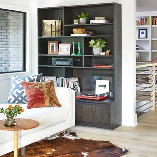 Inspiration for a 1960s enclosed living room remodel in Minneapolis with a music area, white walls and no fireplace
