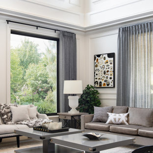 Design ideas for a transitional living room in Melbourne with white walls and panelled walls.