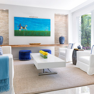 Inspiration for a large beach style formal open plan living room in Miami with grey walls, marble flooring, no fireplace, no tv and beige floors.
