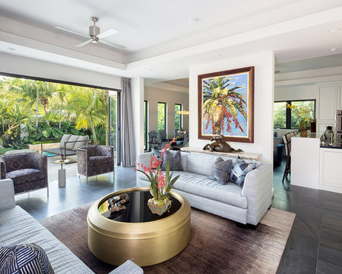 Example Of A Large Trendy Open Concept Living Room Design In Miami