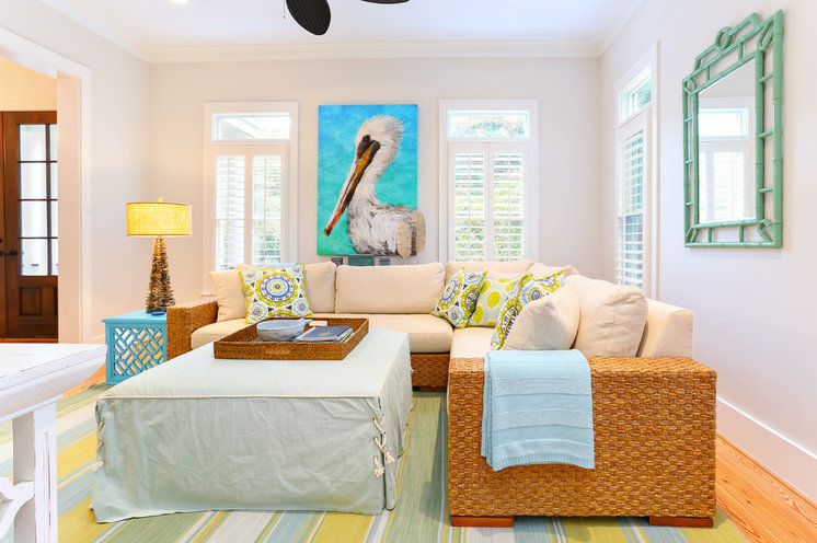 Beach Style Family Room by Matthew Bolt Graphic Design