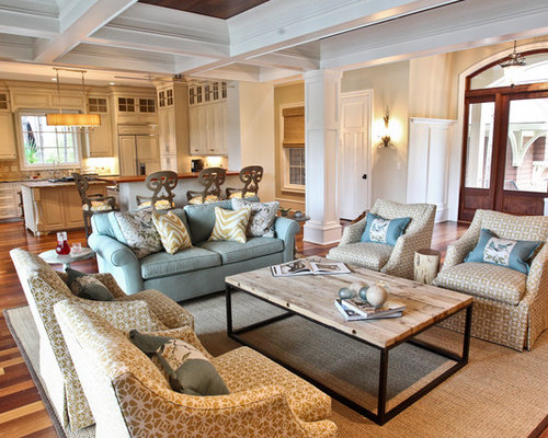 Example Of A Coastal Open Concept Living Room Design In Charleston With Gray Walls