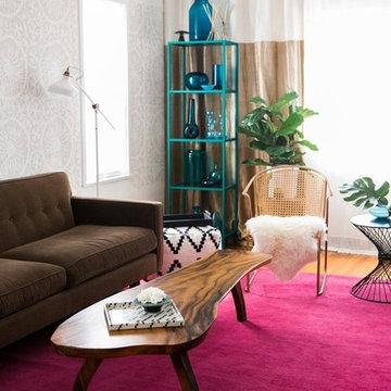 Kim Myles Stenciled Living Room