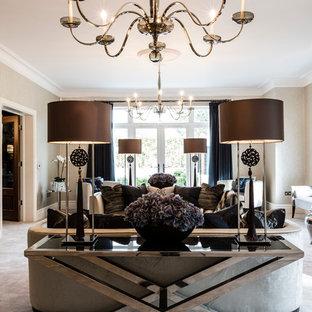 Idéer för ett modernt vardagsrum, med heltäckningsmatta, en standard öppen spis och en spiselkrans i metall