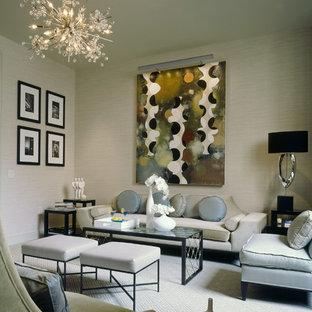 Example of a mid-sized transitional formal and enclosed carpeted living room design in New York with beige walls
