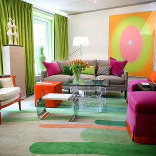 Idee per un soggiorno design con pareti bianche