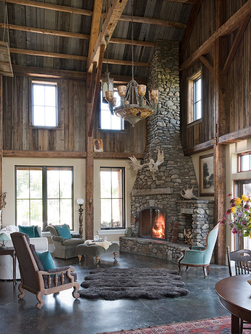 Large Country Open Concept Concrete Floor Living Room Photo In Burlington With A Stone Fireplace