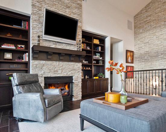 Stacked Stone Fireplace Houzz