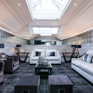 Inspiration for a classic enclosed living room in Glasgow with grey walls, carpet and grey floors.