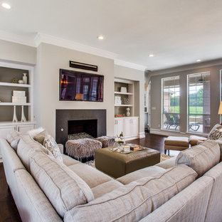 Example Of A Transitional Formal Dark Wood Floor And Brown Floor Living  Room Design In Dallas