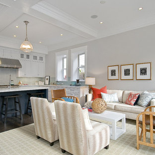 Inspiration for a timeless open concept living room remodel in San Francisco with gray walls