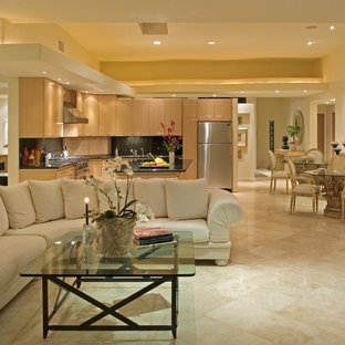 Inspiration for a contemporary open concept marble floor living room remodel in San Diego with beige walls