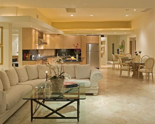 salon avec un sol en marbre et un mur beige photos et id es d co de salons. Black Bedroom Furniture Sets. Home Design Ideas