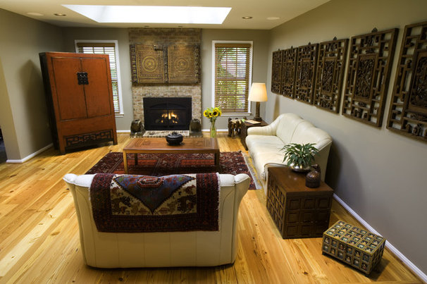 Asian Living Room by Fisher Group LLC