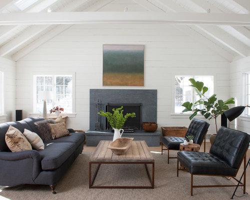 Example Of A Country Formal Light Wood Floor And Beige Floor Living Room  Design In Bridgeport