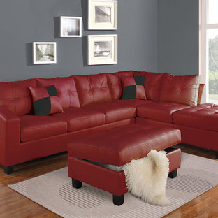 Kiva Reversible Sectional Sofa With 2 Pillows, Red Bonded Leather Match