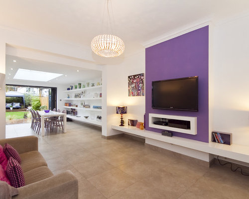 Trendy Open Concept Living Room Photo In London With Purple Walls