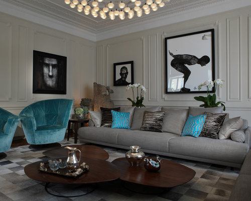 gray and turquoise living room decorating ideas. Inspiration for a contemporary living room remodel in London with beige  walls and no tv Grey And Turquoise Houzz
